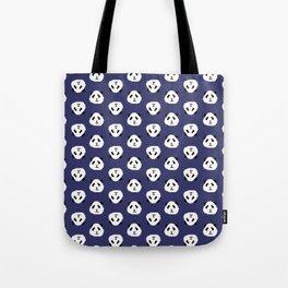Blue Pixel Panda Pattern Tote Bag