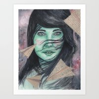 planes Art Prints featuring Paper planes  by Pendientera