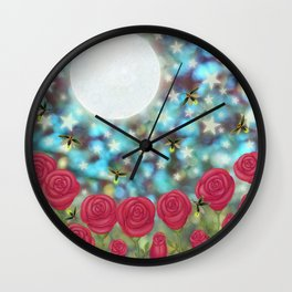the moon, stars, fireflies, & roses Wall Clock