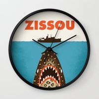 steve zissou Wall Clocks featuring Zissou by Wharton