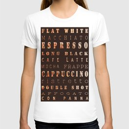 Coffee Types Poster T-shirt