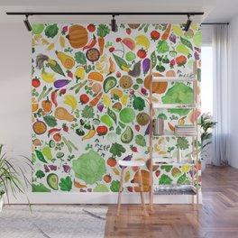 Fruit and Veg Pattern Wall Mural