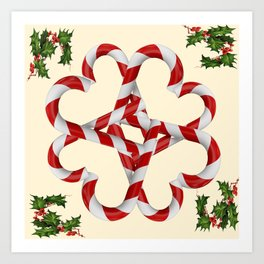 CREAMY YELLOW  RED-WHITE PINK  CHRISTMAS CANDY CANES Art Print