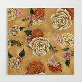 Gold luxury floral Wood Wall Art