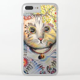 Smokey ... abstract cat art animal pet painting Clear iPhone Case