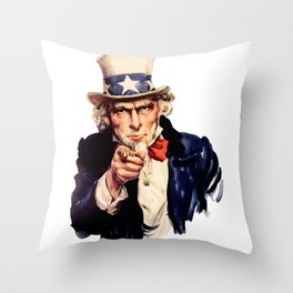Uncle Sam Pointing Finger Throw Pillow