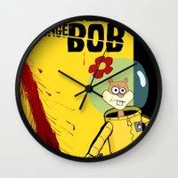 spongebob Wall Clocks featuring Kill Spongebob by thunderbloke!