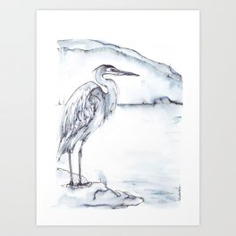 Heron, River, Mountain Art Print