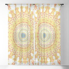 Gold Teal Boho Mandala Sheer Curtain