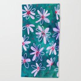 Daisy Flowers | Whimsical Watercolor Daisies on Cyan BlueTeal Beach Towel
