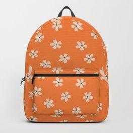 70s retro orange groovy grannie floral pattern Backpack