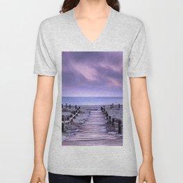 """To the beach...."" Purple sunset Unisex V-Neck"