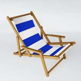 Cobalt Blue and White Wide Cabana Tent Stripe Sling Chair