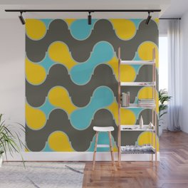 blue yallow gray wave Wall Mural