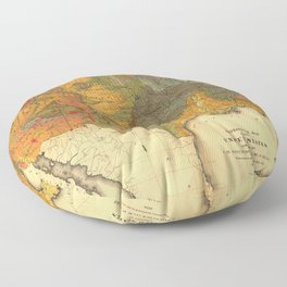 Vintage United States Geological Map Floor Pillow