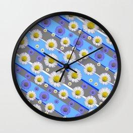 DECORATIVE DIAGONAL PATTERN BLUE MODERN ART WHITE SHASTA DAISIES Wall Clock