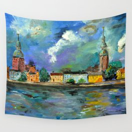 A Night of Color in Riga Wall Tapestry