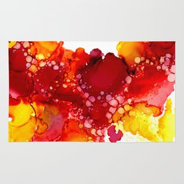 Red & yellow abstract ink art Rug