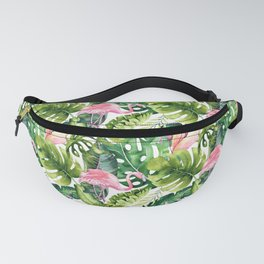 Flamingo Tropical || #pattern #tropical Fanny Pack