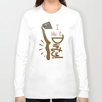 tool Long Sleeve T-shirts featuring Naughty Farm Tool by Artistic Dyslexia