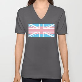 Gay Pride LGBT Transgender UK Union Flag Stripe design Unisex V-Neck
