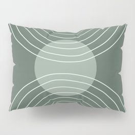 Handdrawn Geometric Lines in Forest Green 2 Pillow Sham