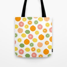 Orange Grapefruit Lemon Lime Citrus Pattern Tote Bag