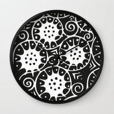 Black and White Swirl Pattern Wall Clock