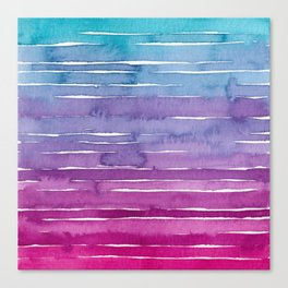 Ombre Watercolor - Turquoise & Magenta Canvas Print