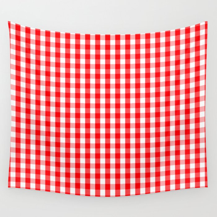 Large Christmas Red And White Gingham Check Plaid Wall Tapestry