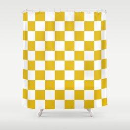 Mustard Yellow Checkers Pattern Shower Curtain