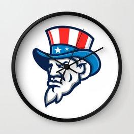 Uncle Sam Wearing USA Top Hat Mascot Wall Clock