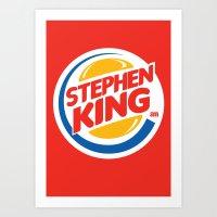 stephen king Art Prints featuring Stephen King by Alejo Malia
