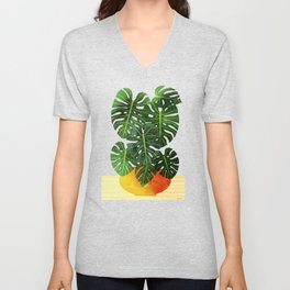 Monstera Swiss Cheese Plant In Mid Century Pot Unisex V-Neck