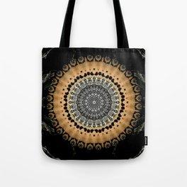 Black Marble with Gold Brushed Mandala Tote Bag