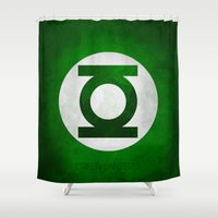 lantern Shower Curtains featuring Green Lantern by whosyourdeddy