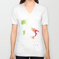italy V-neck T-shirts featuring Italy by Stormer