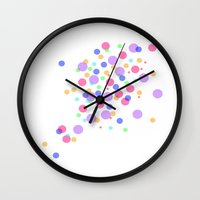 confetti Wall Clocks featuring Confetti by DuniStudioDesign