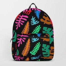 Mod Minimalist Leaves in Black + Tropical Multi Backpack