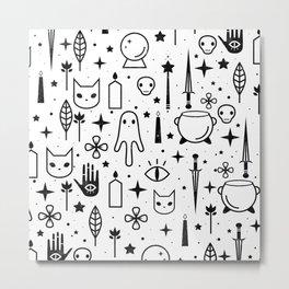 Spirit Symbols White Metal Print