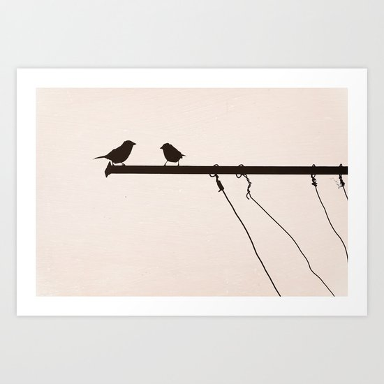Sparrow Chat Art Print