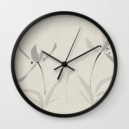 Japanese orchid Asian style brush painting Wall Clock