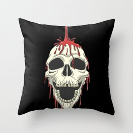 Skull showers in blood Throw Pillow