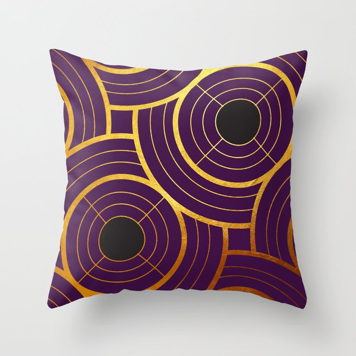 Art Deco Round And In Purple Throw Pillow