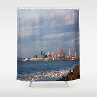 cleveland Shower Curtains featuring Cleveland Rocks by GammaRayRobot