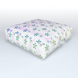 Ombre asterisk star large snowflakes Outdoor Floor Cushion