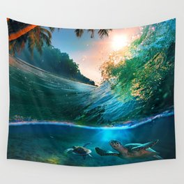 Palm Tree - Waves - Turtles - Beach - Ocean Wall Tapestry