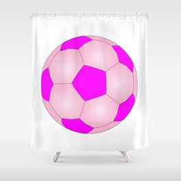 Pink And White Football Shower Curtain