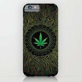 Magic plant. Marijuana leaf. mandala iPhone Case