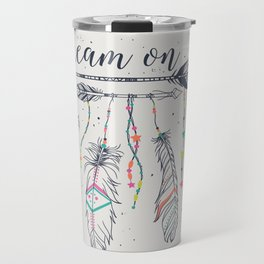 Ethnic arrows, feathers and beads. American indian motifs. Boho style. Freedom concept. Travel Mug
